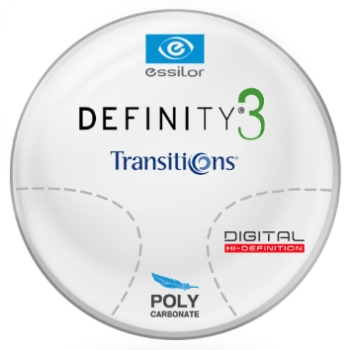 Essilor Definity® 3 Digital by Essilor Transitions® SIGNATURE VII - [Gray] Polycarbonate Progressive Lenses