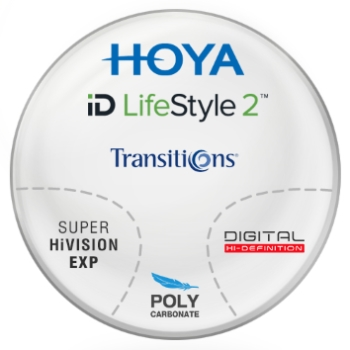 Hoya Hoyalux iD Lifestyle Transitions® SIGNATURE VII - [Gray] Polycarbonate Progressive W/ Hoya EX3 AR Lenses
