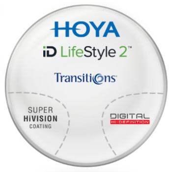 Hoya Hoyalux iD LifeStyle Transitions® SIGNATURE VII - [Gray] Plastic CR-39 Progressive W/ Hoya Super Hi Vision AR Lenses