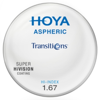 Hoya Hoya® Aspheric Hi-Index 1.67 Transitions® SIGNATURE VII [Gray or Brown] W/ Super HiVision AR Coating Lenses