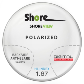 Shore View Digital High Index 1.67 thin polarized (Grey or Brown) Progressive W/ Back Side AR Coating Lenses