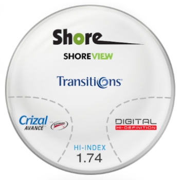 Shore Lens Shore View Digital High Index 1.74 Transitions (Grey) with Crizal Avance UV™ AR Progressive Lenses