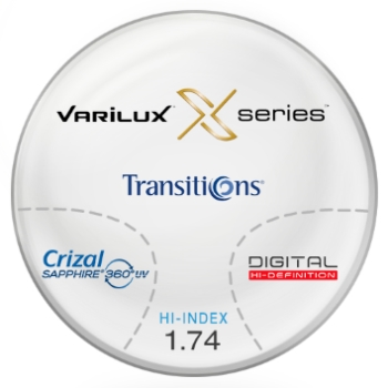 Varilux Varilux X Series™ Transitions® SIGNATURE VII- [Gray or Brown] Thin&Lite 1.74 W/ Crizal Sapphire 360 AR Coating Progressive Lenses