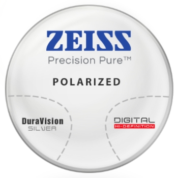 Zeiss Zeiss® Precision Pure™ Polarized [Gray or Brown] CR-39 Progressive W/ Zeiss DuraVision Silver AR Lenses