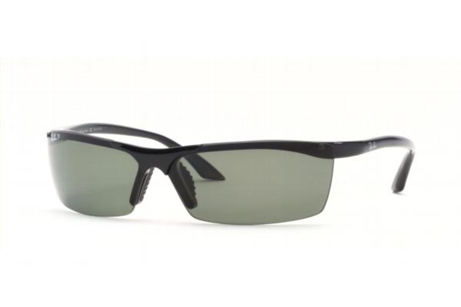 Ray-Ban RB 4080 Sunglasses in Glossy Black w/Greygreen Polarized Lenses 601/9A