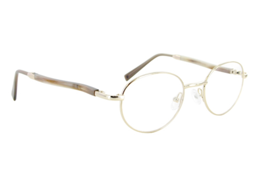 Gold & Wood 409-6-CB6 Eyeglasses in 409-6-CB6 Shiny Gold - Buttered Horn