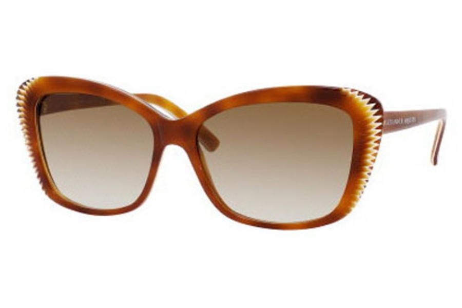 Alexander McQueen 4178/S Sunglasses in 0DUK Havana White Havana (CC brown gradient lens)