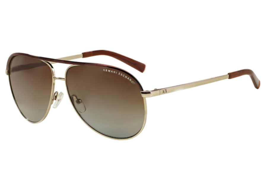 Armani Exchange AX2002 Sunglasses in 6010T5 Light Gold/Dark Brown Brown Gradient Polarized