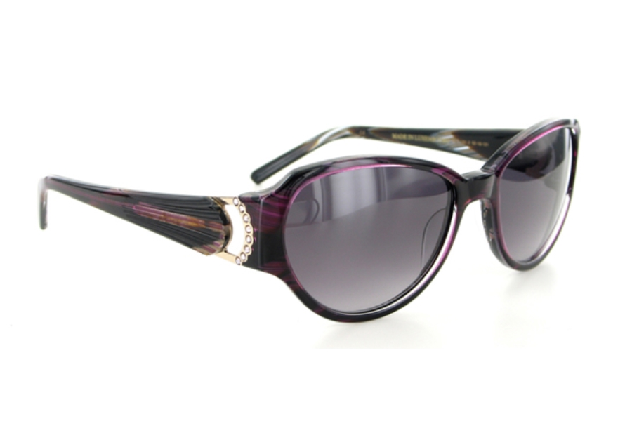 Boucheron Paris BES 161 Sunglasses in BES161-02 Purple / Marbled Brown