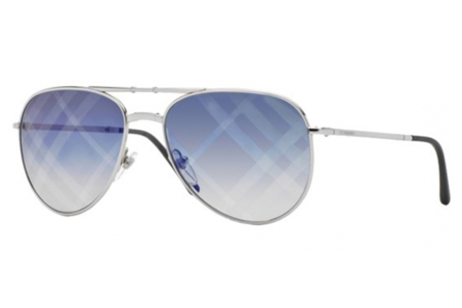 burberry blue sunglasses j3bx  Burberry BE3071 Sunglasses in 1005B2 Silver Gradient Blue Mirror Violet
