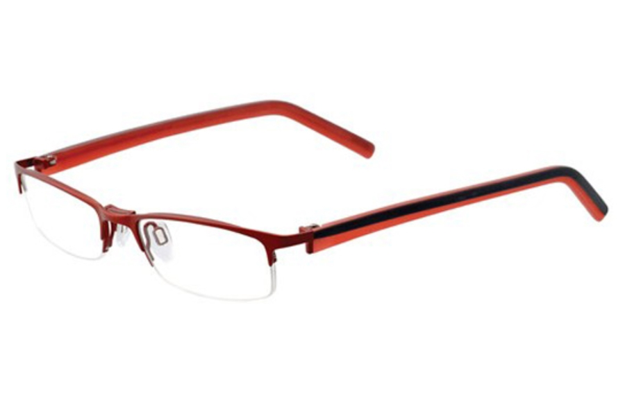 Easyclip O1049 Eyeglasses in 30 Satin Ruby Red/Dark Grey and Red