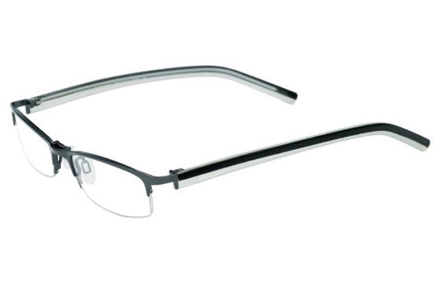 Easyclip O1049 Eyeglasses in 90 Satin Black/Black and Clear Teal