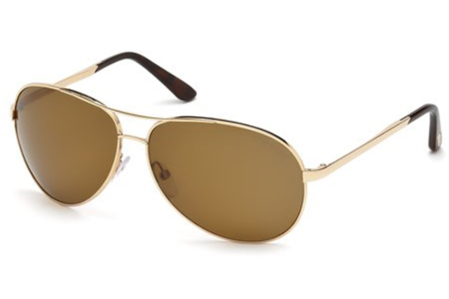 Tom Ford FT0035 Charles Sunglasses in 28G Shiny Rose Gold/Brown Mirror
