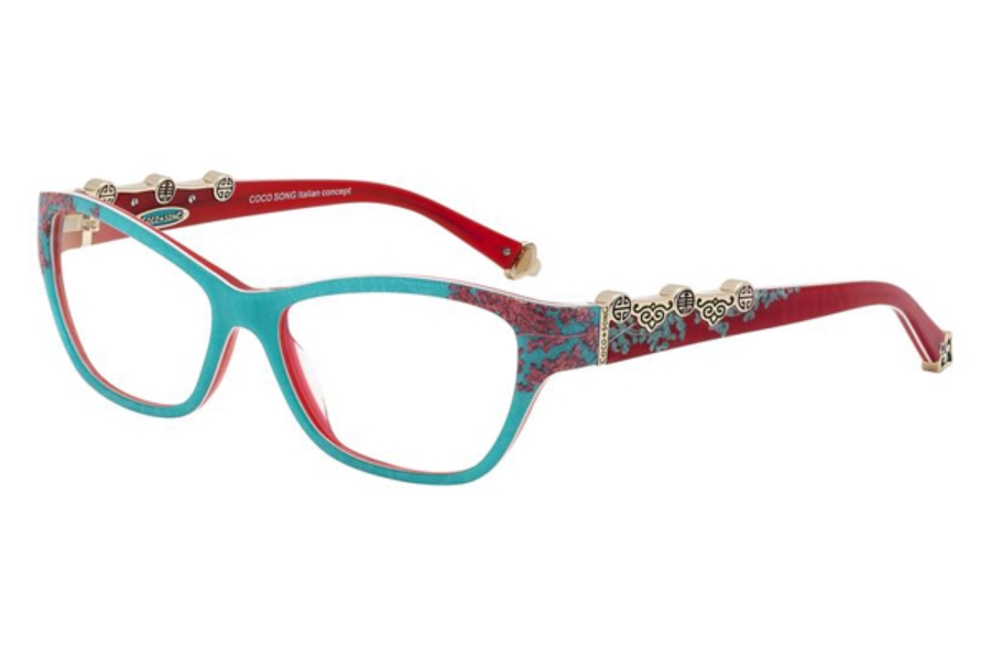 Coco Song FUNKY BLUE Eyeglasses in C4 Turquoise/Red