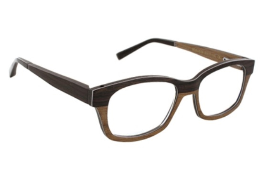 Gold & Wood Oculus Eyeglasses in 04 Wenge Brown / Aluminium / Golden Wood
