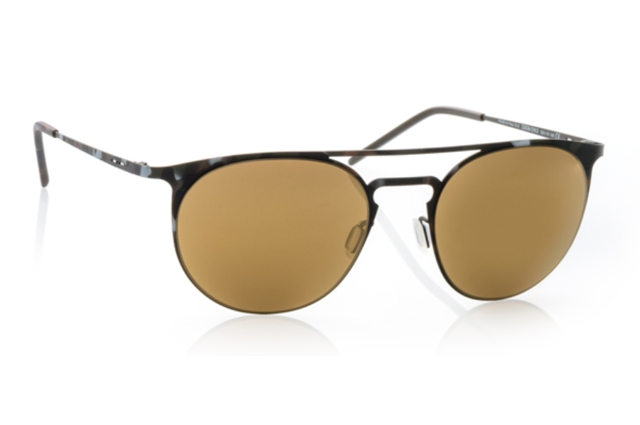 Italia Independent 0206 Sunglasses in 093 Havana Army Green / Gold / Mirrored