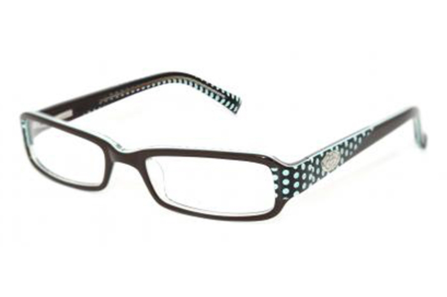 Phoebe Couture P203 Eyeglasses in BRN Brown/Teal Polka Dots