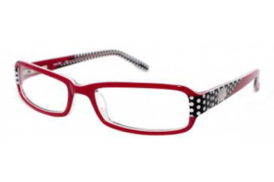 Phoebe Couture P203 Eyeglasses in RED Red/Black Polka Dots