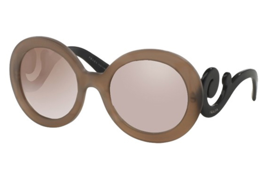 Prada PR 27NS Sunglasses in UBU4O0 Dark Brown Mat Trasp Gradient Brown Mirror Silver