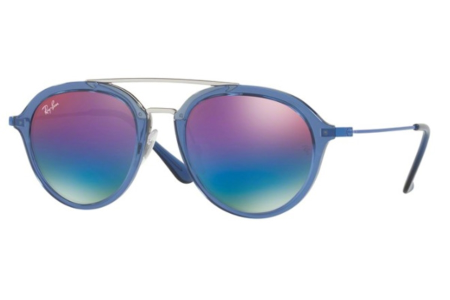 Ray-Ban Junior RJ 9065S Sunglasses in 7037B1 Trasparent Blue / Green Mirror Blue Gradient Vio