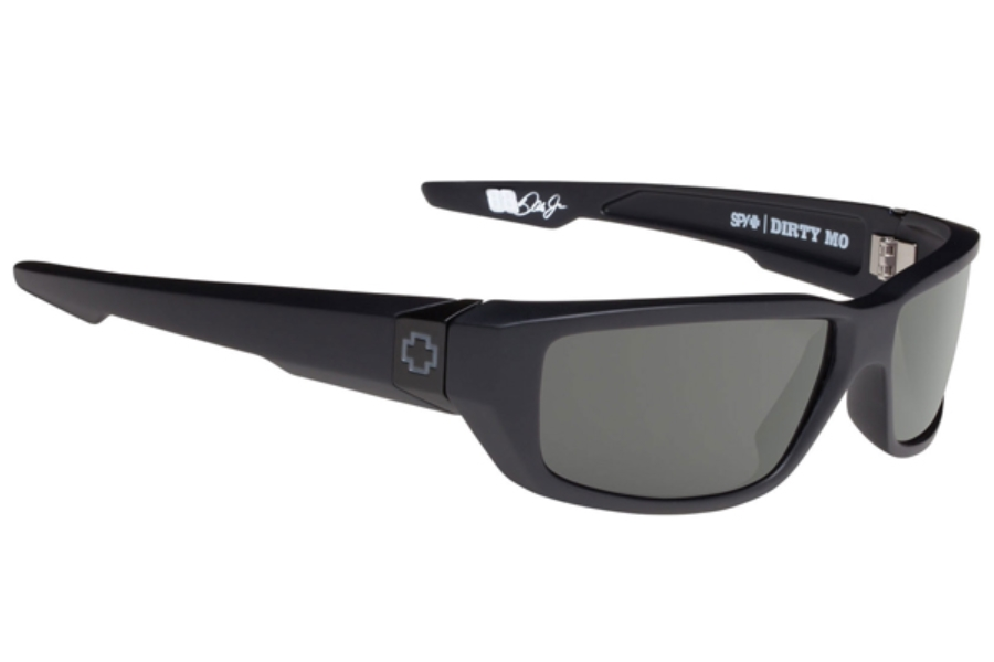 Spy DIRTY MO Sunglasses in Soft Matte Black W/ Happy Grey Green