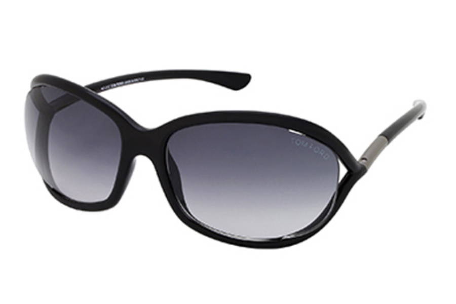 Tom Ford FT0008 Jennifer Sunglasses in 01B - Shiny Black / Gradient Smoke