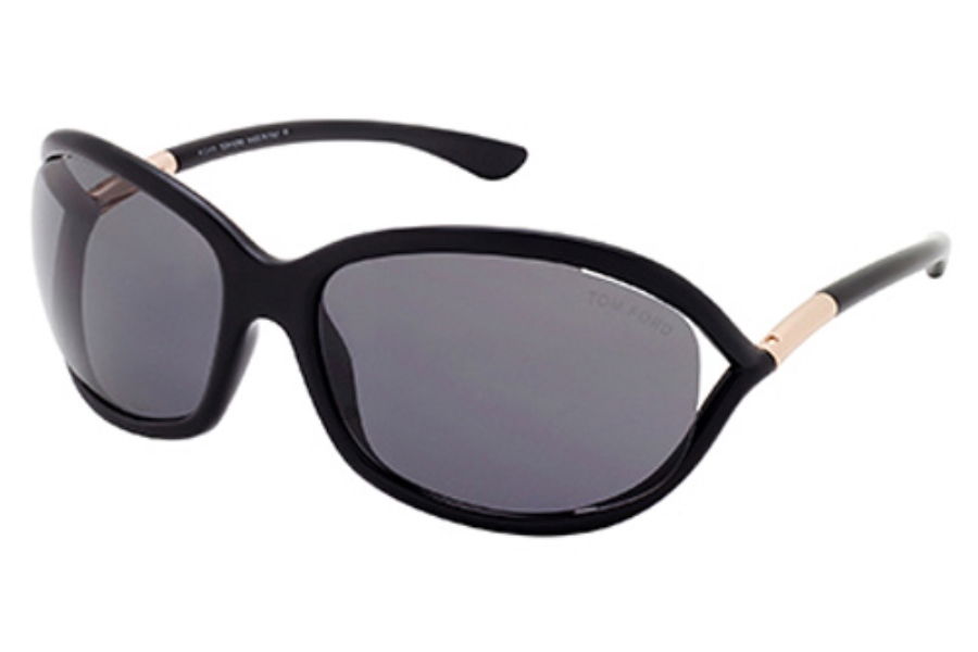 Tom Ford FT0008 Jennifer Sunglasses in 01D - Shiny Black / Smoke Polarized