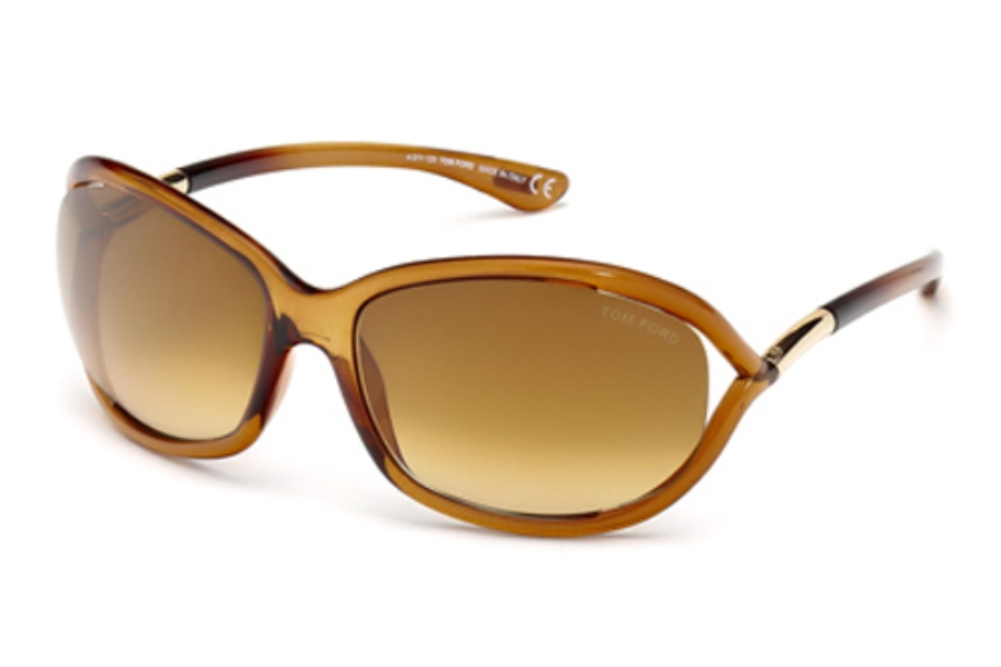 Tom Ford FT0008 Jennifer Sunglasses in 602 Shiny Transparent Rust Brown/Rose Gold Metal w/ Gradient Brown Lenses
