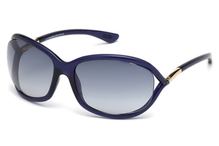 Tom Ford FT0008 Jennifer Sunglasses in 90W - Shiny Blue / Gradient Blue