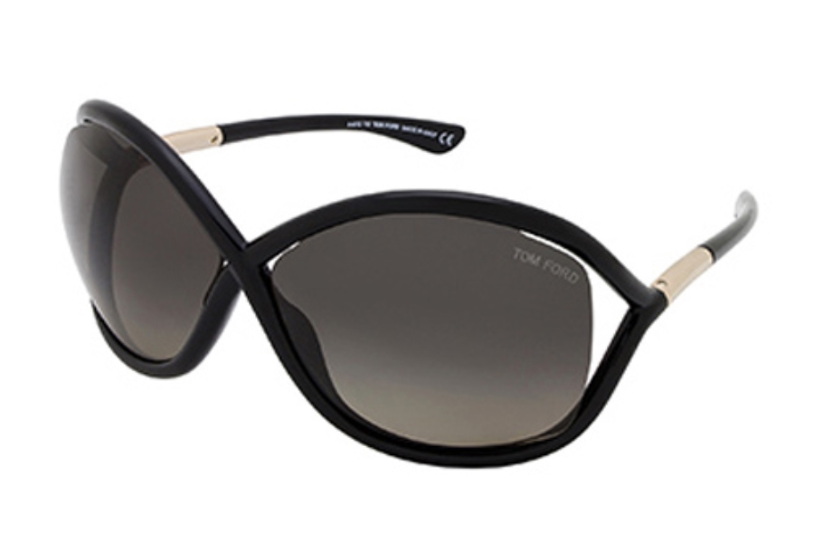 Tom Ford FT0009 Whitney Sunglasses in 01D Shiny Black / Smoke Polarized