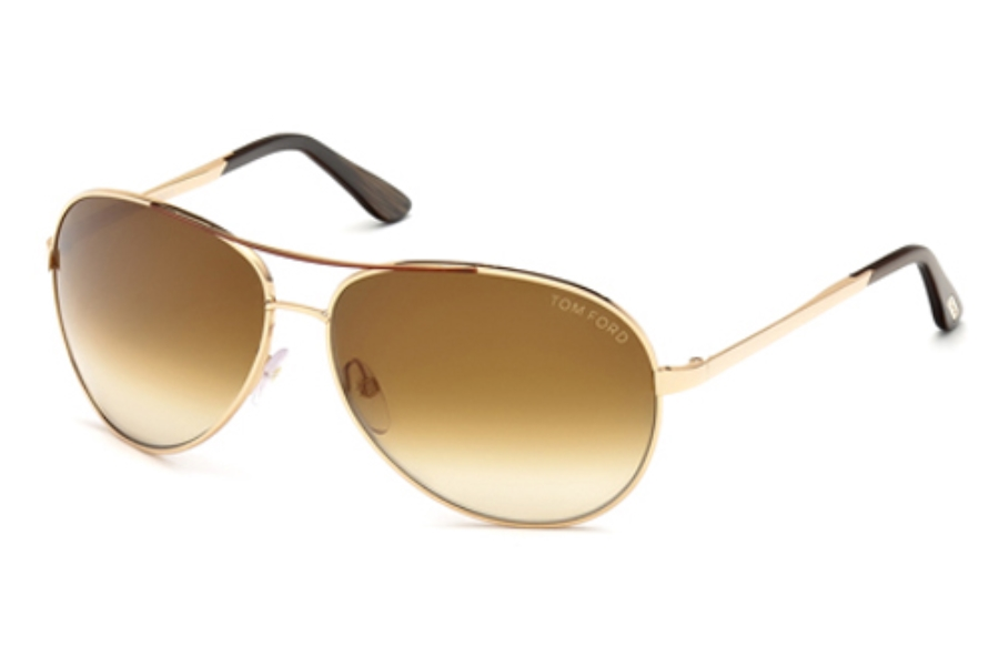 Tom Ford FT0035 Charles Sunglasses in 772 Shiny Rose Gold w/Brown Gradient Lenses