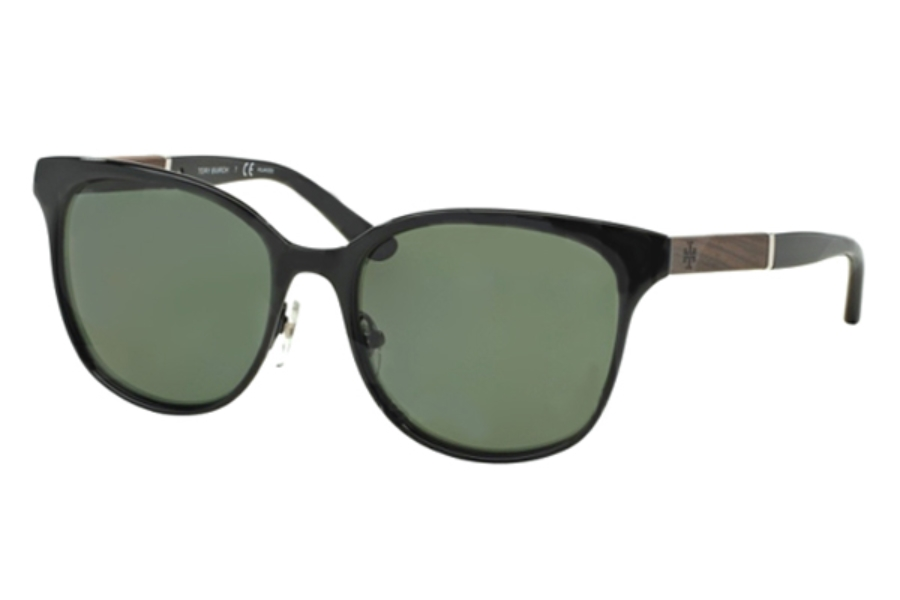 Tory Burch TY6041 Sunglasses in 30799A Black Green Solid Polarized