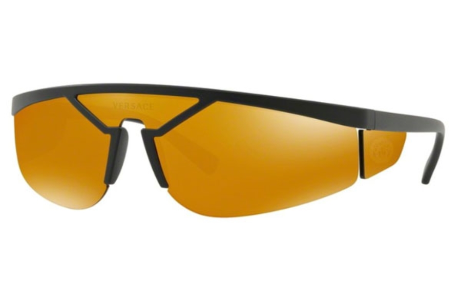Versace VE 4349 Sunglasses in 50795A Matte Black / Brown Orange 24K Iridium
