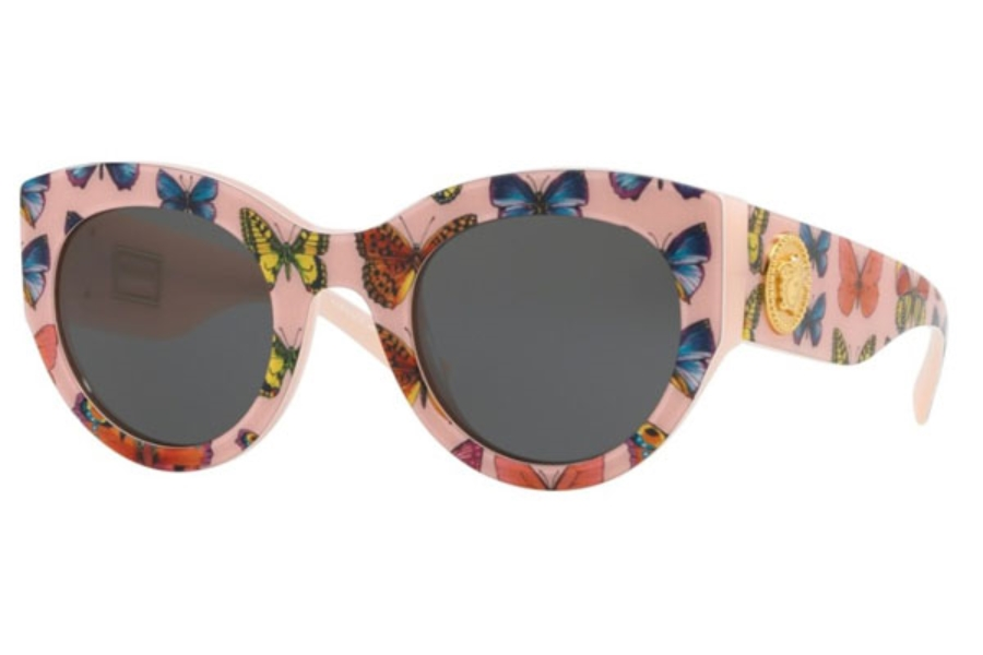 Versace VE 4353 Sunglasses in 528687 Butterfly/Pink / Grey