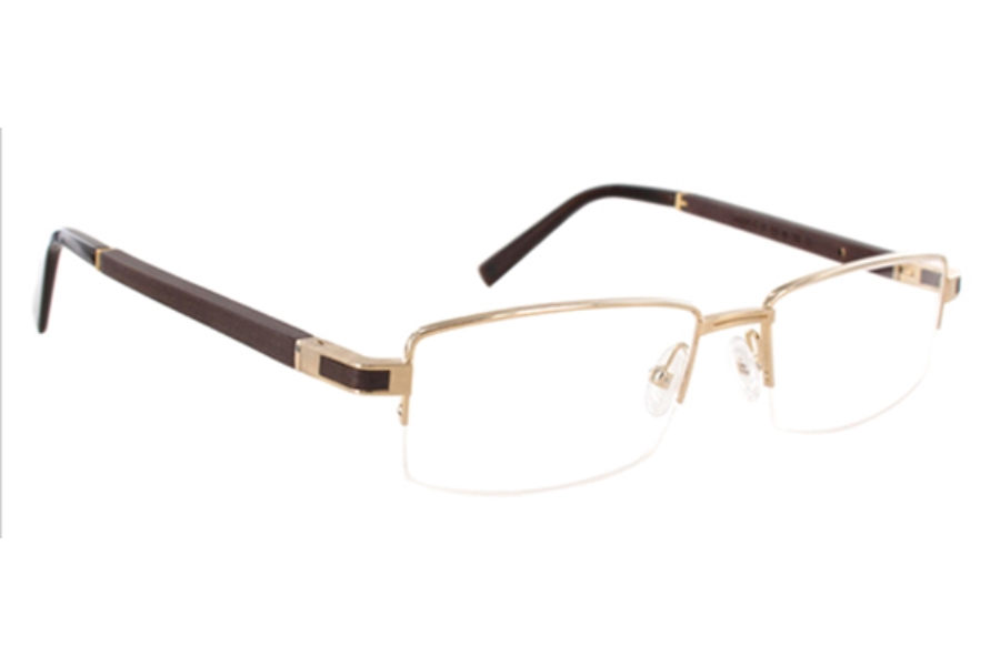 Gold & Wood Canopus Eyeglasses in Gold & Wood Canopus Eyeglasses