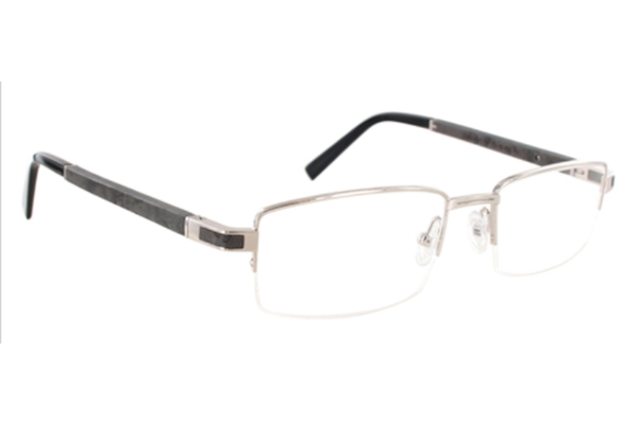 Gold & Wood Canopus Eyeglasses in 02 Brushed Palladium - Flecked Grey