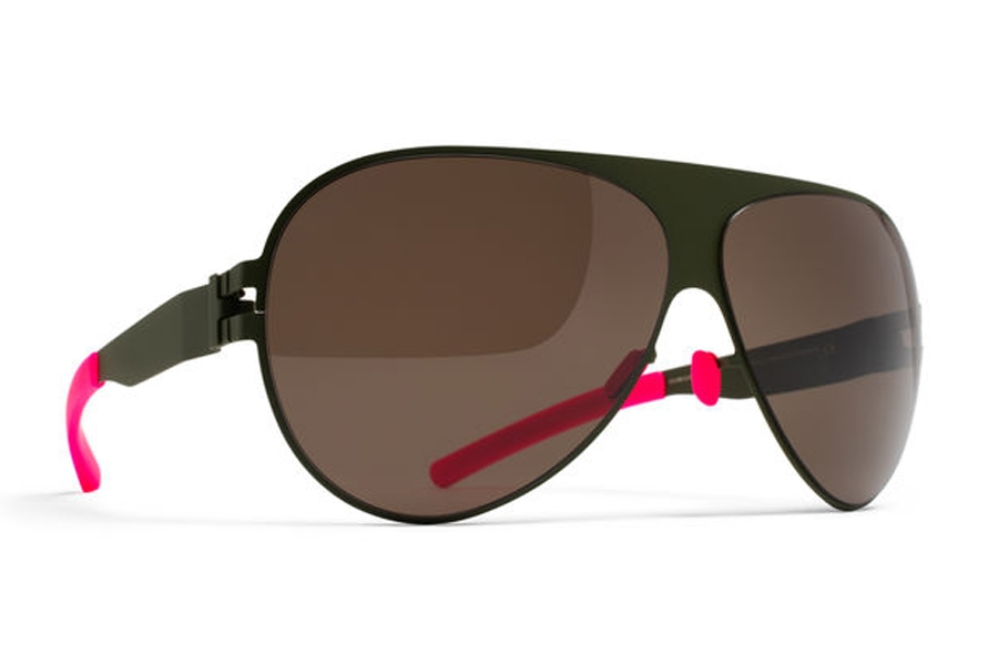 Mykita Franz Sunglasses in F66 Olive w/ Dark Brown Solid Lens