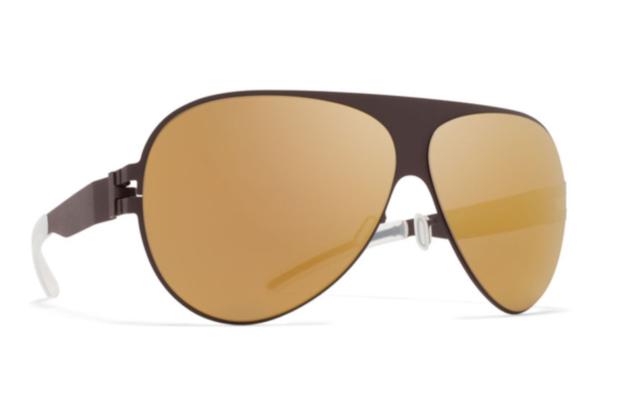 Mykita Franz Sunglasses in F70 Ebony Brown w/Gold Flash