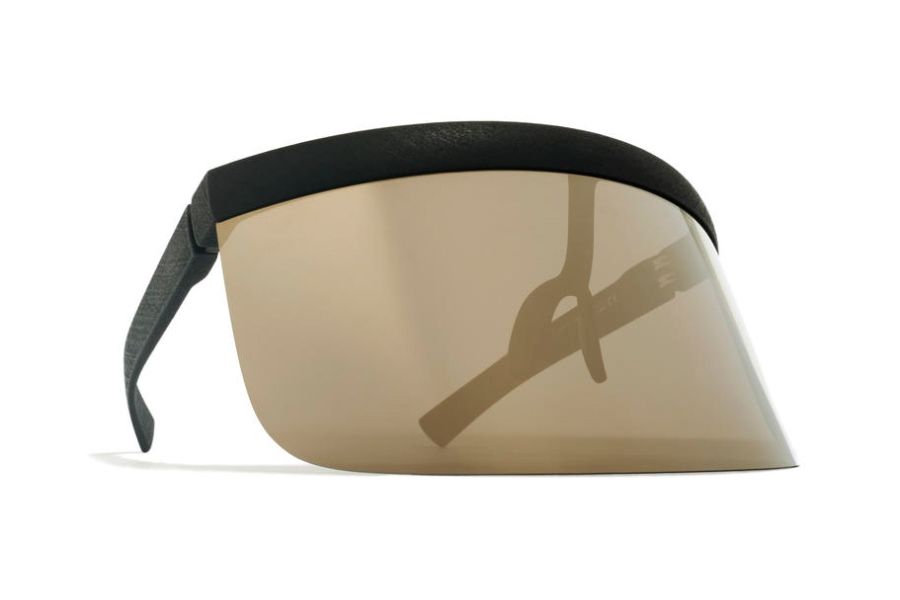 Mykita Daisuke Sunglasses in MD1 Pitch Black w/ Gold Flash Shield