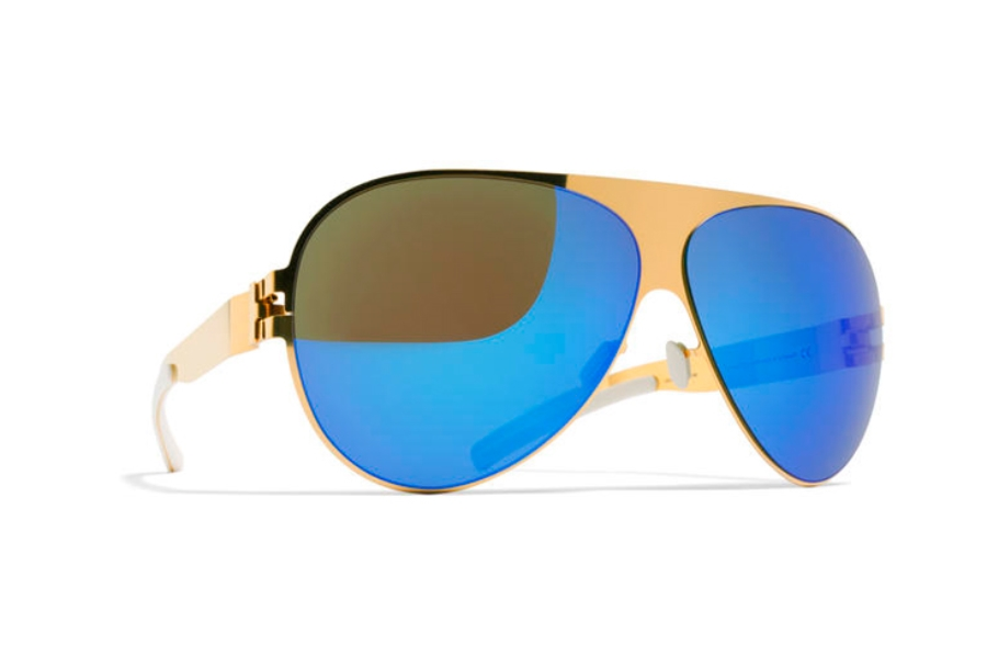 Mykita Franz Sunglasses in F9 Gold w/ Azure Flash Lens