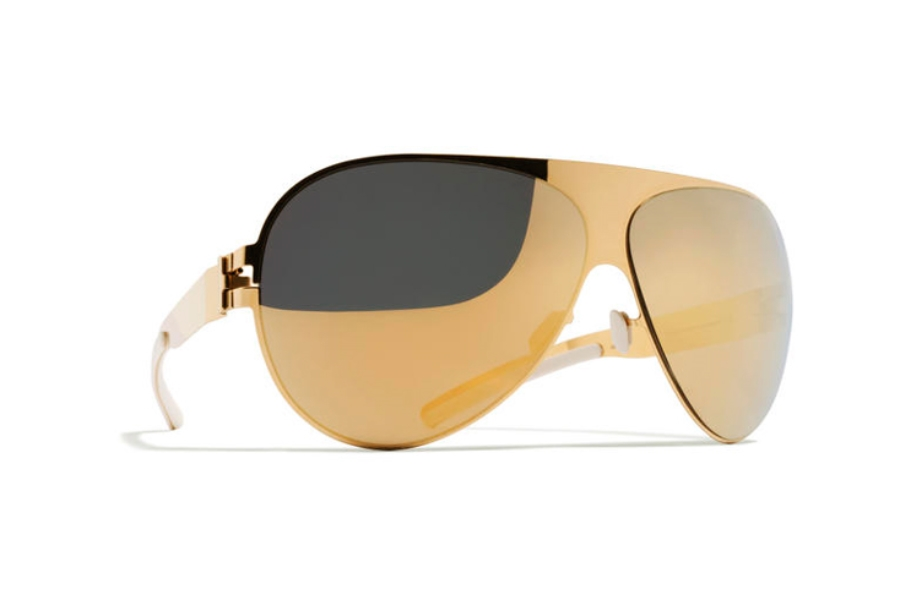 Mykita Franz Sunglasses in F9 Gold w/ Gold Flash Lens