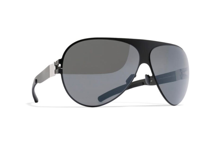 Mykita Franz Sunglasses in F25 Matt Black w/ Grey Flash Lens