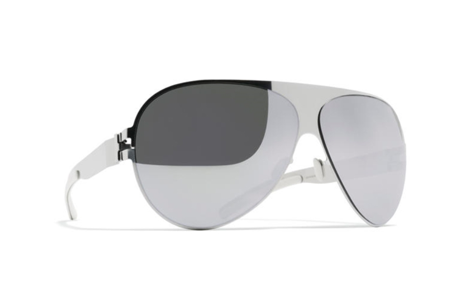 Mykita Franz Sunglasses in F10 Silver w/ Silver Flash Lens