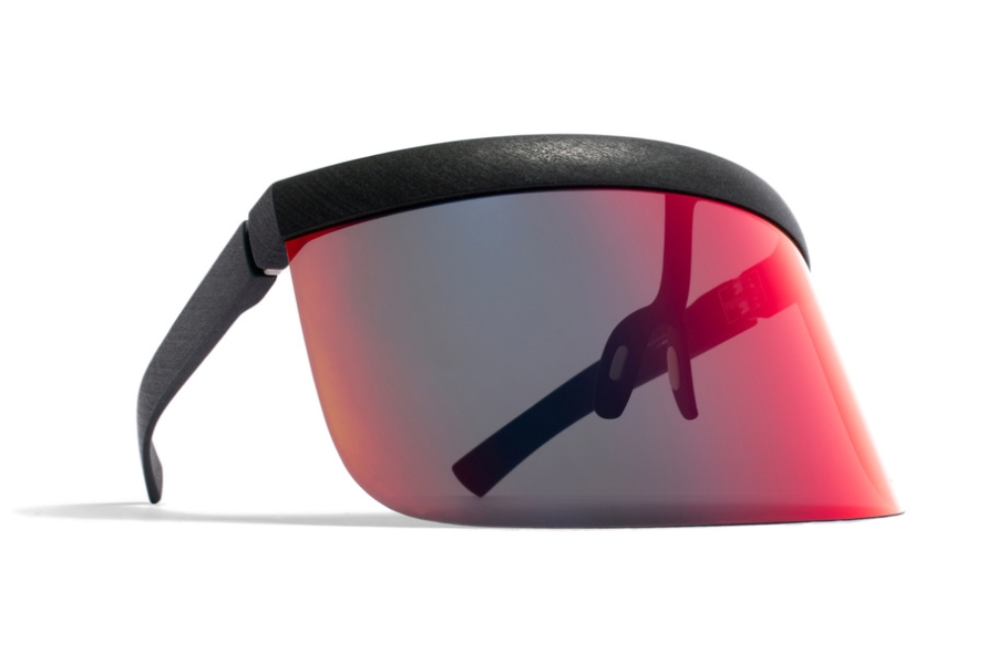 Mykita Daisuke Sunglasses in MD8 Storm Grey w/ Scarlet Flash Shield