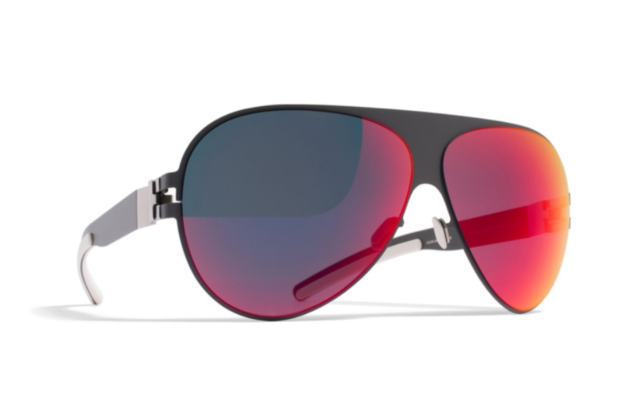 Mykita Franz Sunglasses in F61 Basalt w/ Scarlet Flash Lens