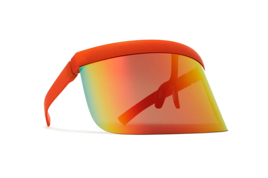 Mykita Daisuke Sunglasses in MD21 Pure Orange w/ Orange Flash Shield