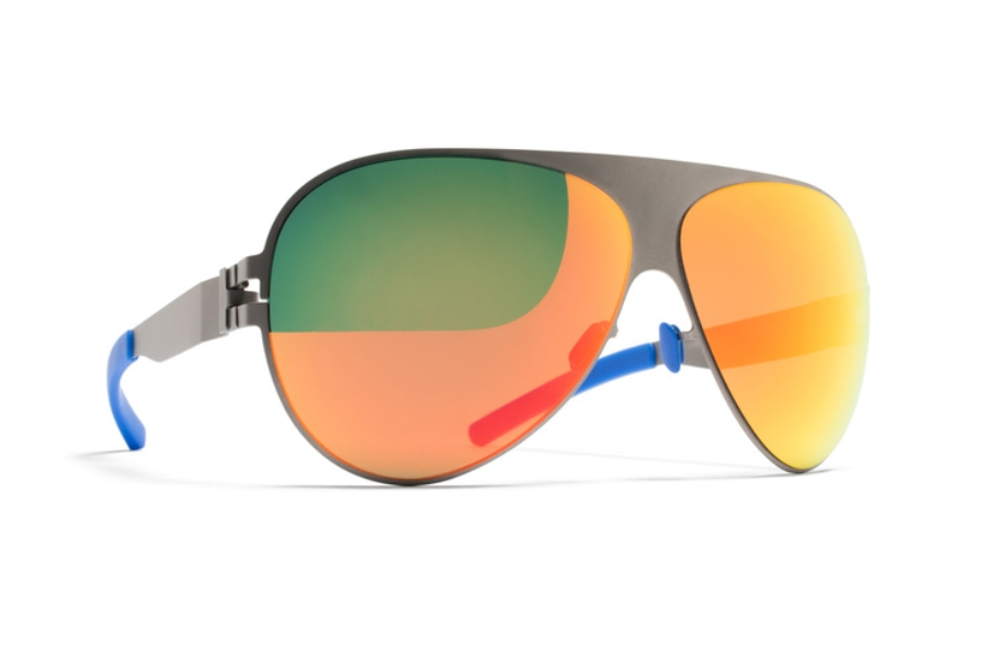 Mykita Franz Sunglasses in F64 Matte Grey w/ Orange Flash Lens