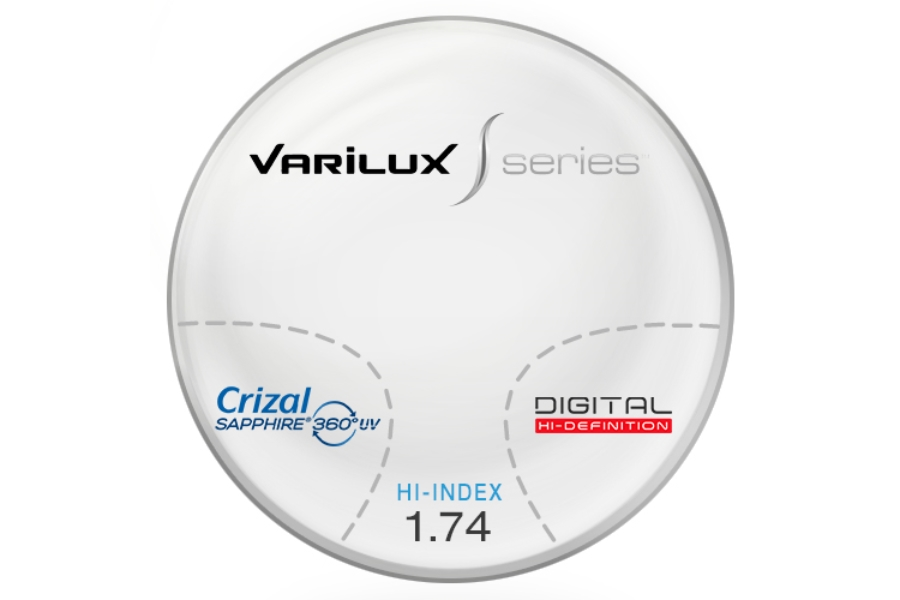 Varilux S Design Hi-Index 1.74 Progressive W/ Crizal Saphire AR Coating Lenses in Varilux S Design Hi-Index 1.74 Progressive W/ Crizal Saphire AR Coating Lenses